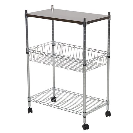 KARMAS PRODUCT 3 Shelf Commercial Shelving Heavy Duty Rolling Cart Chrome Mesh Utility Carts Microwave Stand With Wheels (MDF board) Continental Commercial Products Cart
