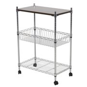 KARMAS PRODUCT 3 Shelf Commercial Shelving Heavy Duty Rolling Cart Chrome Mesh Utility Carts Microwave Stand With Wheels (MDF board)