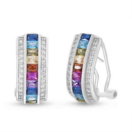 - Multicolored Cubic Zirconia Baguette Huggie Post Clip Earring in Sterling Silver