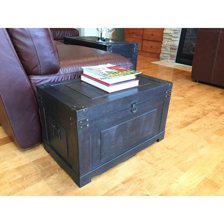Styled Shopping Inc Newport Black Wood Medium Decorative Steamer Trunk/Treasure Hope Chest