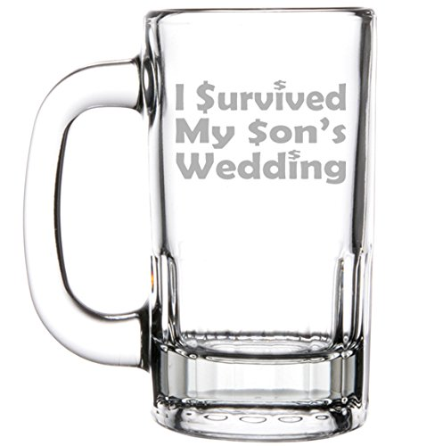 12oz Beer Mug Stein Glass Funny Mom Mother Dad Father of the Groom I survived my son's... by