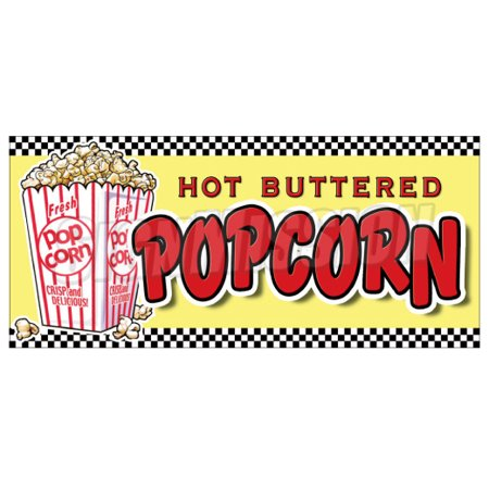 POPCORN Concession Decal menu vendor cart trailer stand sticker pop corn](Concessions Stand)