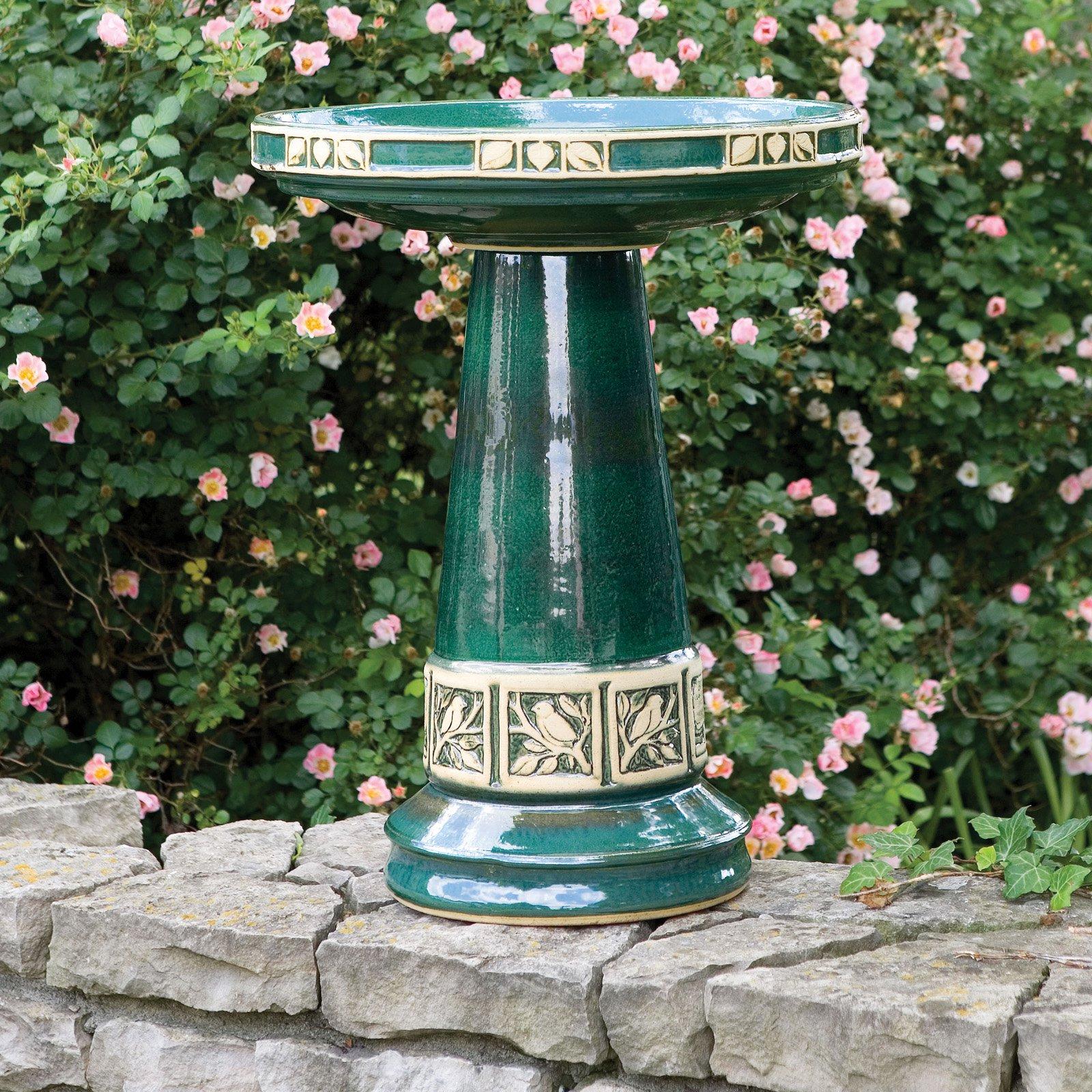 Burley Clay Zanesville Glazed Juniper Green Ceramic Birdbath by Backyard Nature Products Inc