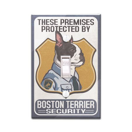 Boston Terrier Security - Dog Sign - Lantern Press Artwork (Light Switchplate