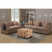 Farsund 2-piece Blended Linen Living Room Set with matching Ottoman and Pillows Dark Red