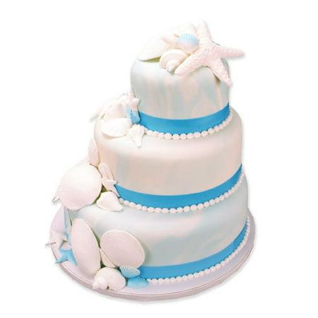 Edible Shimmering Cake Decoration Ribbon -6Strips -Neon Blue