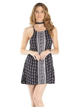 03506f90a8773 Product Image Lagaci Damask Engineer Print Tank Dress w V-Cut Mesh Tie  Back, Black White