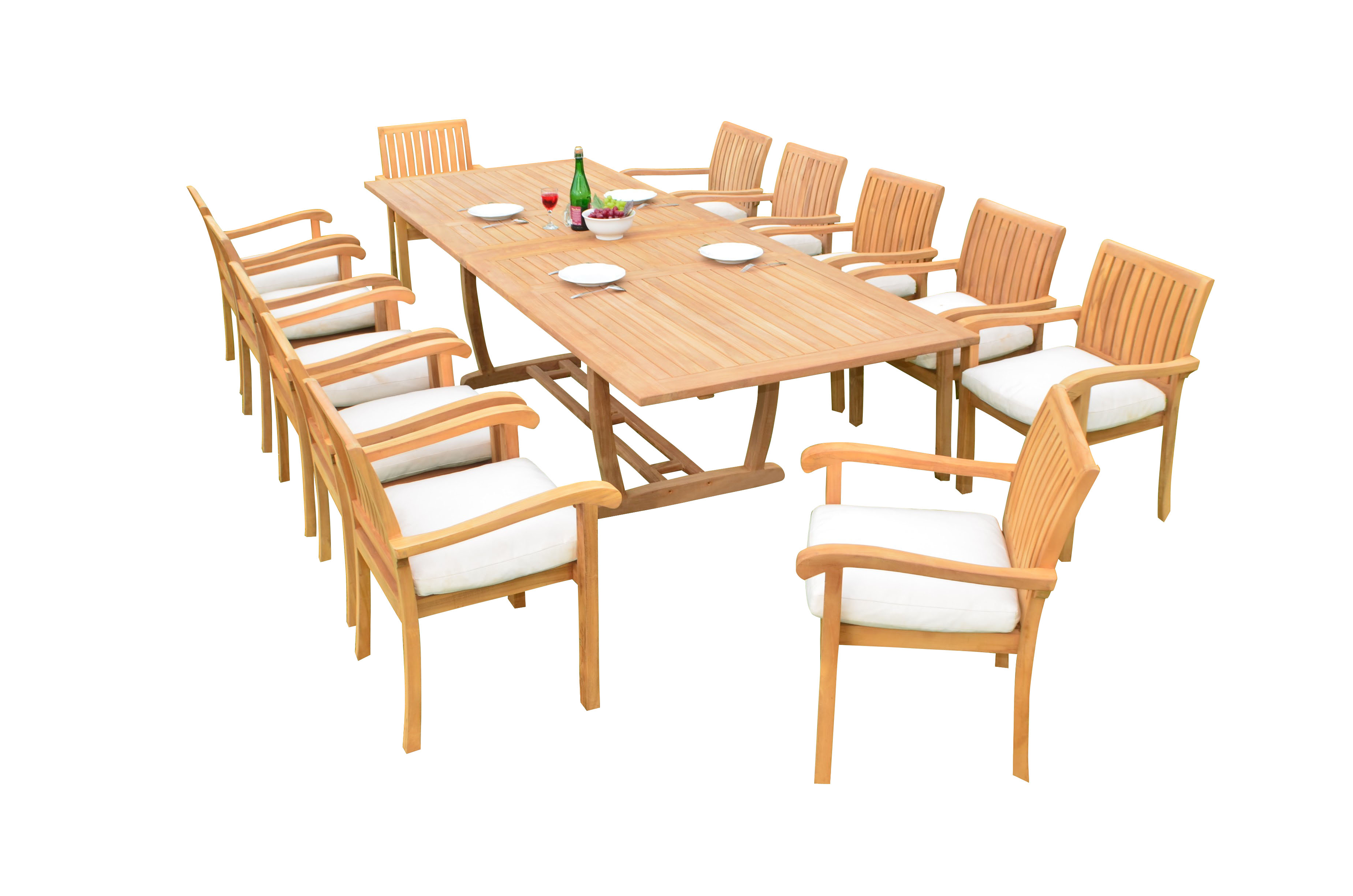 "13 PC A Grade Outdoor Patio Teak Dining Room Set 117"" Double Extension Masc Rectangle Table & 12 Naples... by"