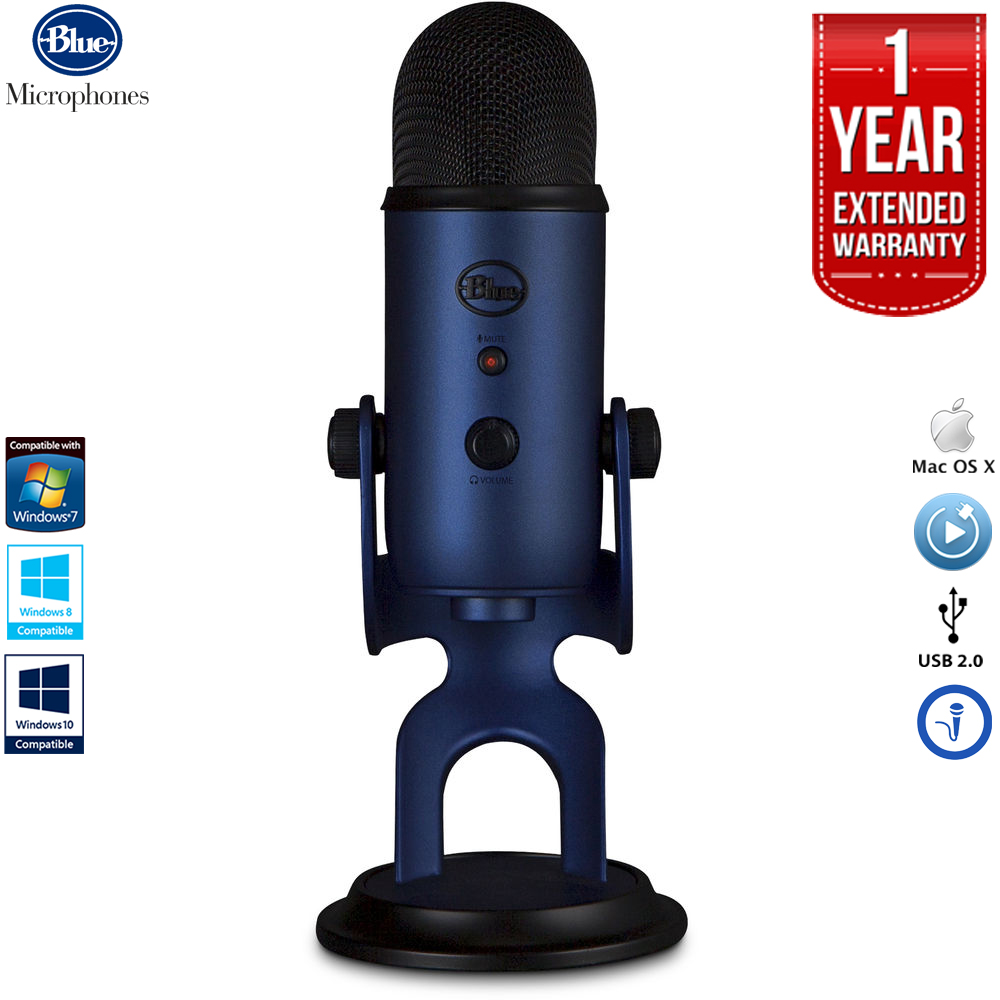 Blue Microphones Yeti USB Microphone Four Pattern - Midnight Blue with 1 Year Extended Warranty