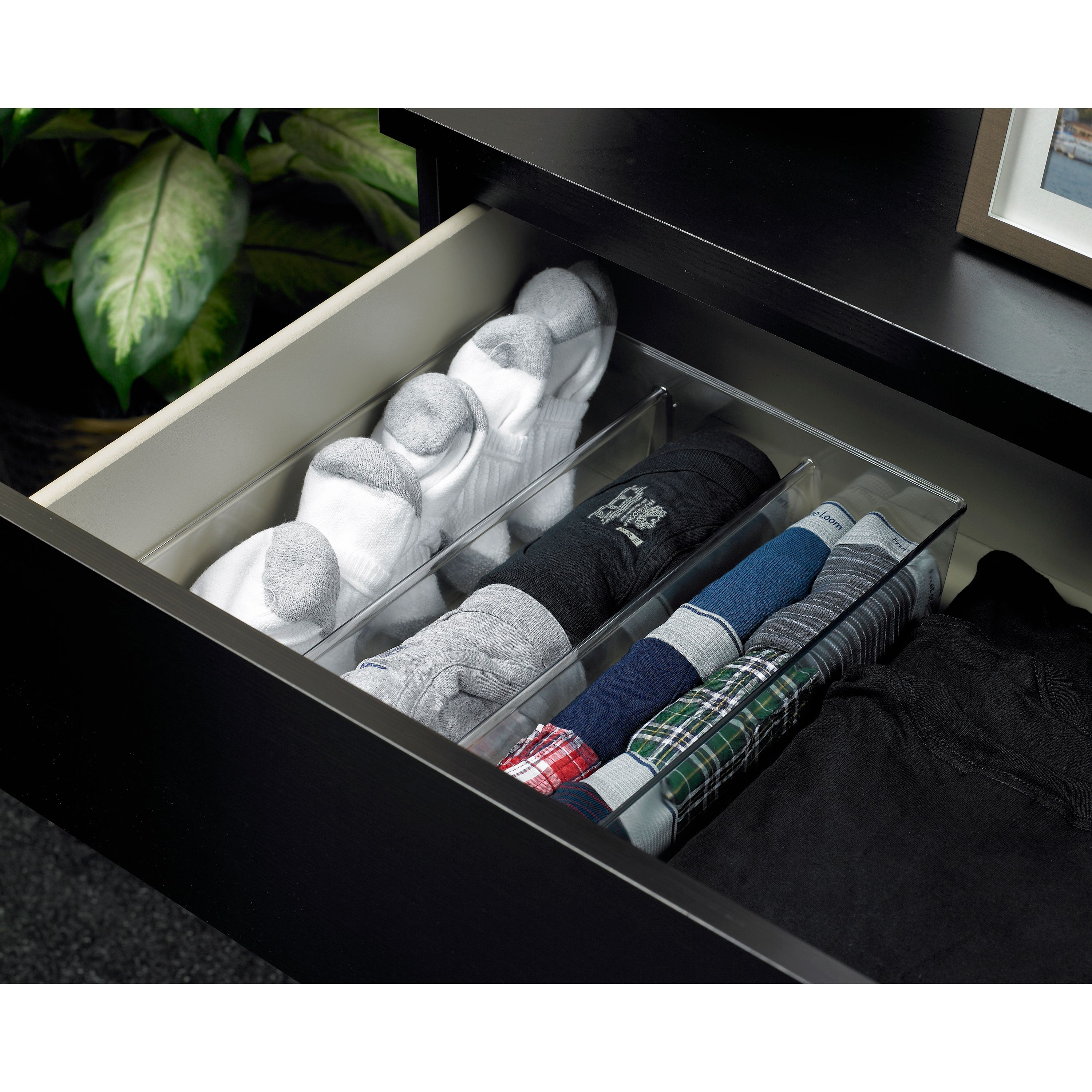 Mainstays 3-Compartment Drawer Organizer, Clear