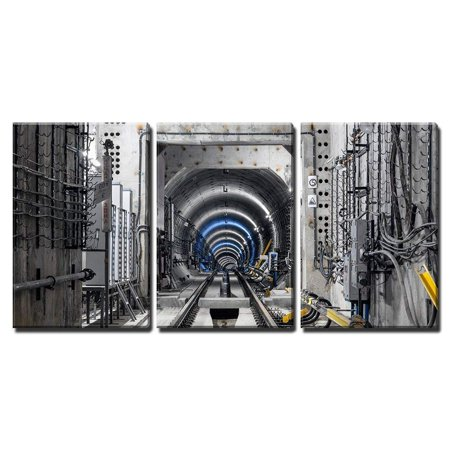 wall26 - 3 Piece Canvas Wall Art - Construction of the subway tunnel in Moscow - Modern Home Decor Stretched and Framed Ready to Hang - 16