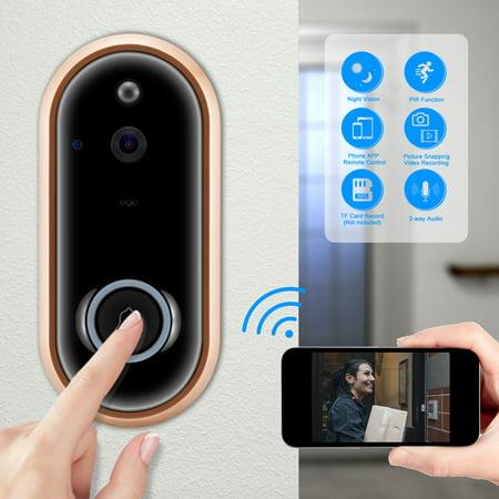 WiFi Smart Video Doorbell, TSV Wireless Door Bell 1080P Full HD Wireless Home Security Intercom Camera, Smart PIR Motion Detection, Gold+black