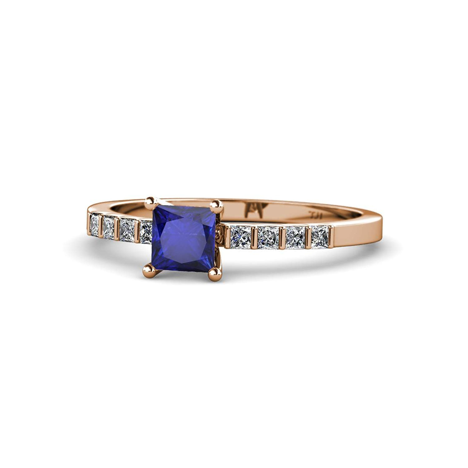 Blue Sapphire and Diamond (SI1-SI2, G-H) Engagement Ring 0.79 Carat tw in 14K Rose Gold.size 9.0 by TriJewels