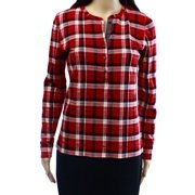 Lauren Ralph Lauren NEW Red Women's Size Medium M Plaid Henley Knit Top