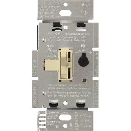 Lutron Incandescent Dimmer (Lutron Toggler C.L Dimmer Switch for dimmable LED, Halogen and Incandescent Bulbs, Single-Pole or 3-Way, AYCL-153P-IV,)