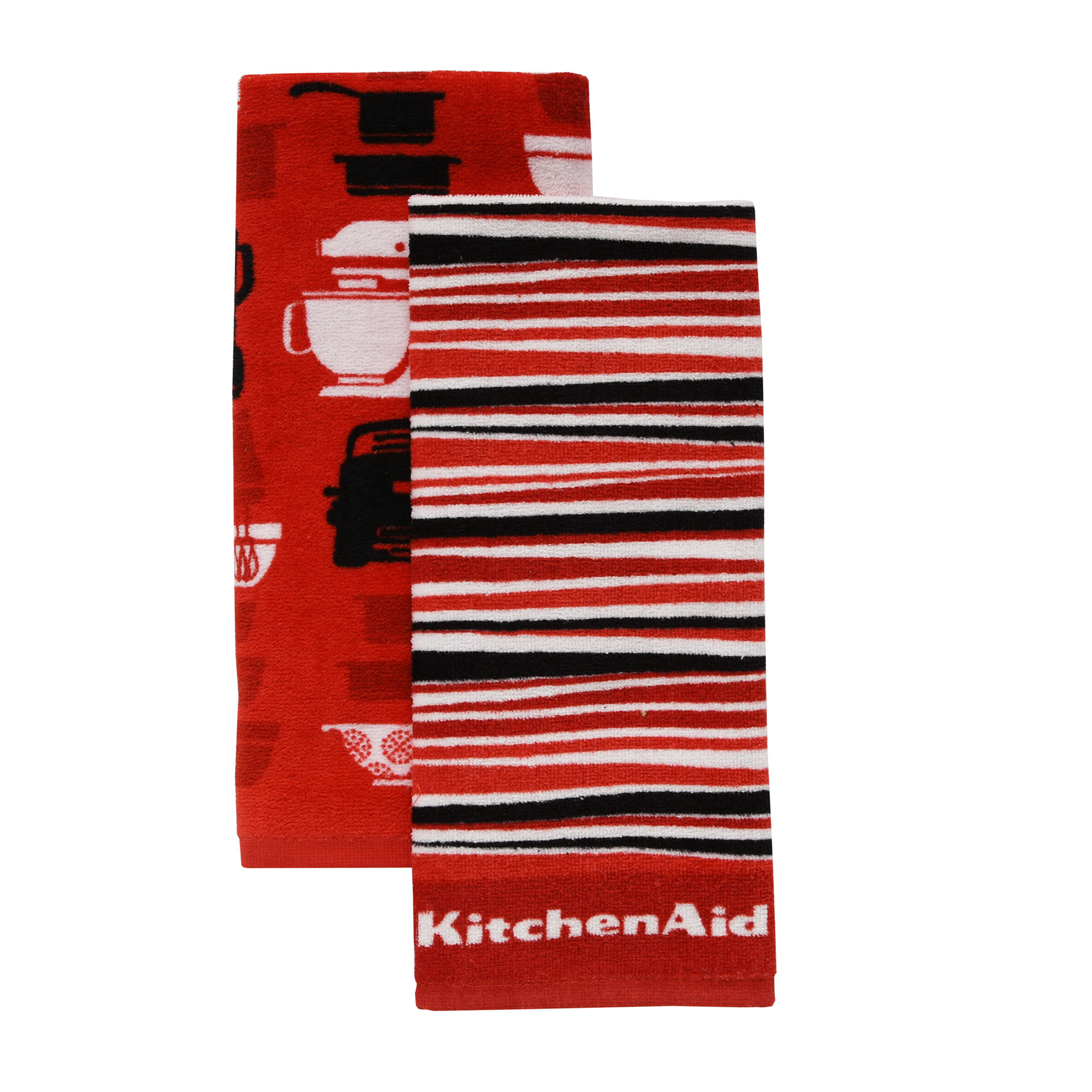 KitchenAid Appliances & Stripe Kitchen Towels, Set of 2, Red by TOWN & COUNTRY