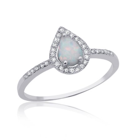 Women's Sterling Silver 1mm Pear Shaped Simulated Opal CZ Engagement Ring (Wear Pear Shaped Ring)
