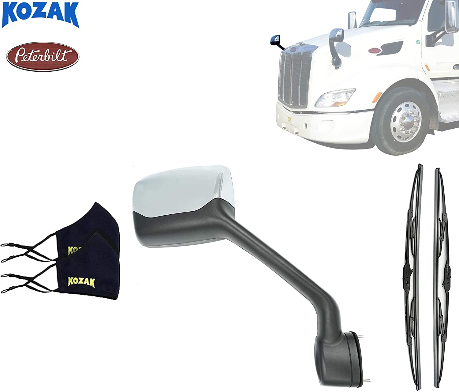 Kozak Chrome Hood Mirror Aftermarket Replacement Right for Freightliner Cascadia 2018 Semi Trucks PLUS Windshield Wipers and Freightliner Emblem Passenger Side