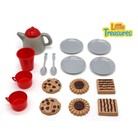 Little Treasures Desert Play Snack Set for Kids with Teapot Dishes Play Food ... (Play Food And Dishes)