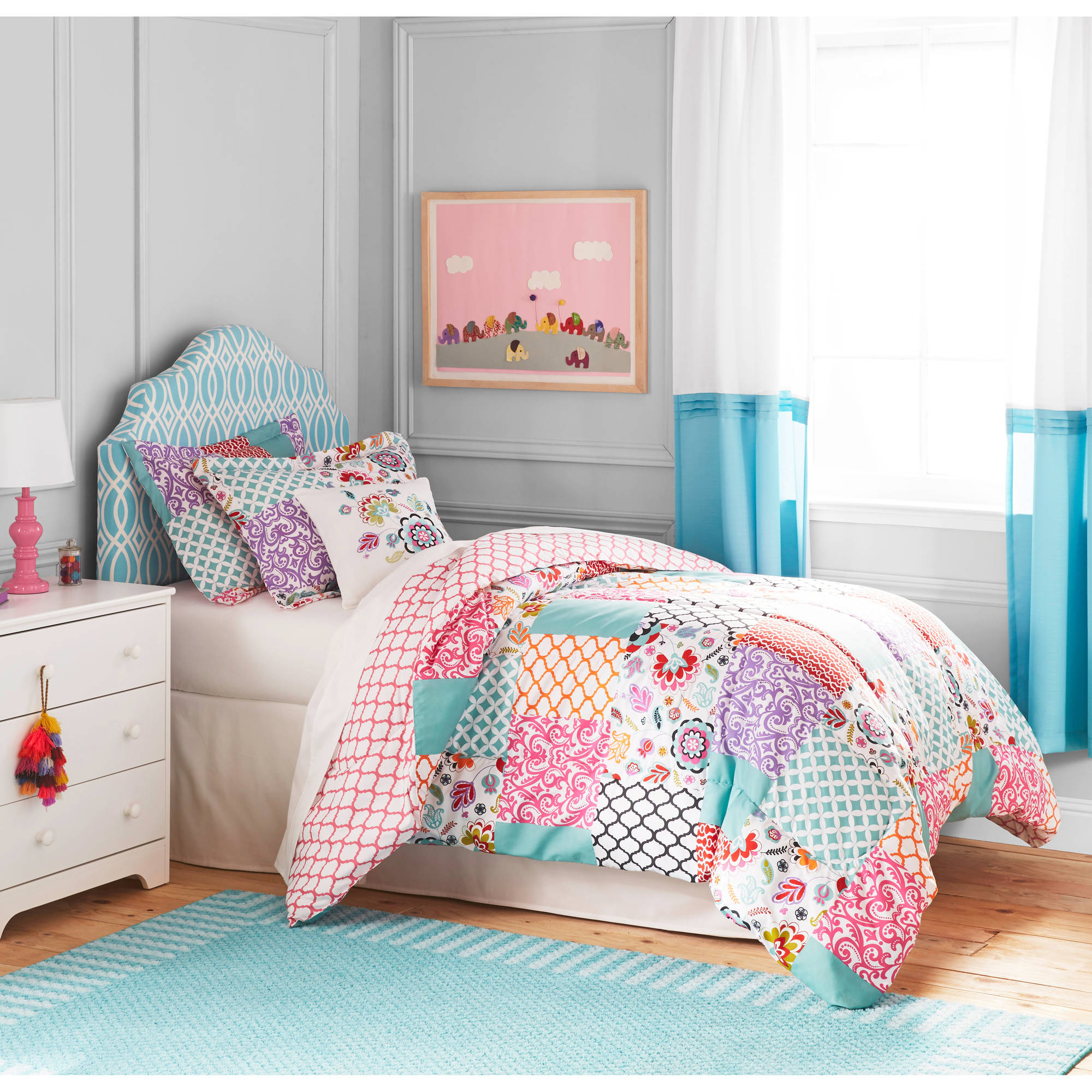 girls bedding Details about Kids-Teens Floral Patchwork 3-piece Bedding Comforter Set  TWIN Pillow Sham