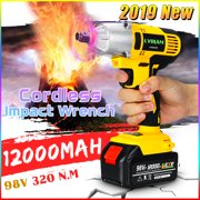 320NM 98VF Cordless Electric Impact Wrench Drill Screwdriver Non-slip High Torque Tools Kit w/1x 12000mAh Battery