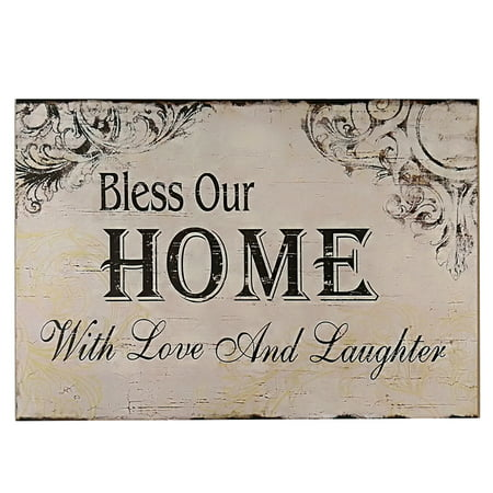 Decorative Wood Wall Hanging Sign Plaque Bless Our Home with and Laughter Off White Black Homes Decor