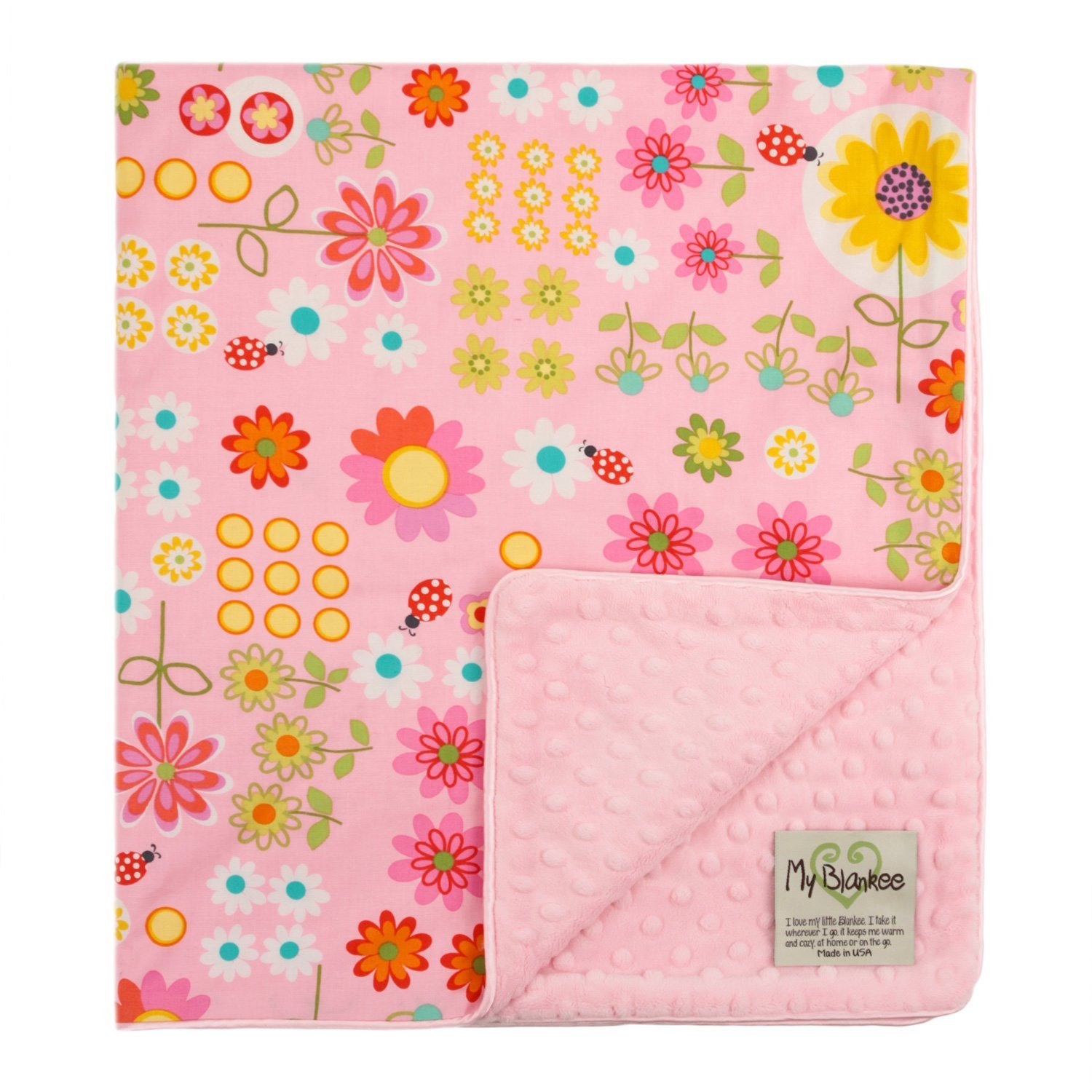 My Blankee Daisy Dance Organic Cotton Pink w/ Minky Dot Pink Baby Blanket, 30' X 35'