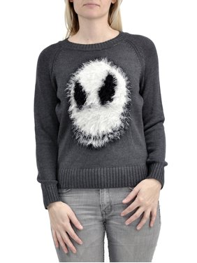 product image nightmare before christmas fuzzy jack skellington juniors knit sweater