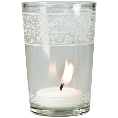 Painted Glass Candle Holder (3.25-Inch, Clear, Aliz Banded Design) - For Use with Tea Lights - For Home Decor, Parties, and Wedding Decorations (Used Wedding Items)