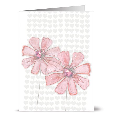 24 Note Cards - Watercolor Pink Daisies - Blank Cards - Pink Envelopes Included