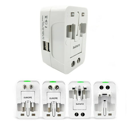 All In One International Plug Adapter (All-In-One Universal World Wide Travelling AC Adapter Plug (AU/UK/US/EU) International Power Charger Electric USB Power Plug Socket Adaptor Converter,(1 Pack,)