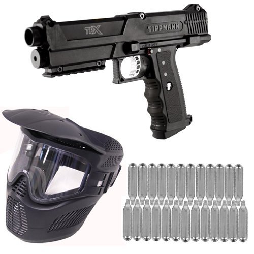 Click here to buy Tippmann TiPX Paintball Pistol Players Kit GXG Mask + 25 12Grams Black.