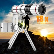 Cell Phone Camera Lens Kit Universal 18X Optical Zoom Telephoto Telescope Lens with Tripod,Perfect for long-distance shooting
