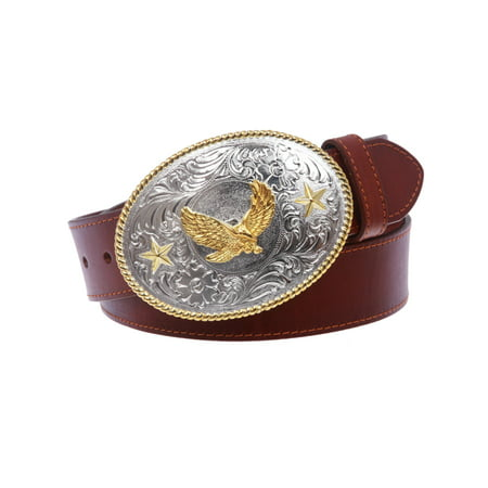 Western Cowboy Silver Buckle with Gold Soaring Eagle Leather Belt