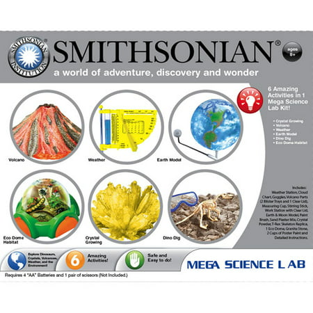 Smithsonian Mega Science Lab 6 Kits in One â Volcanoes, Weather, Crystal Growing, Dinosaurs, Microscopic Science and Space.