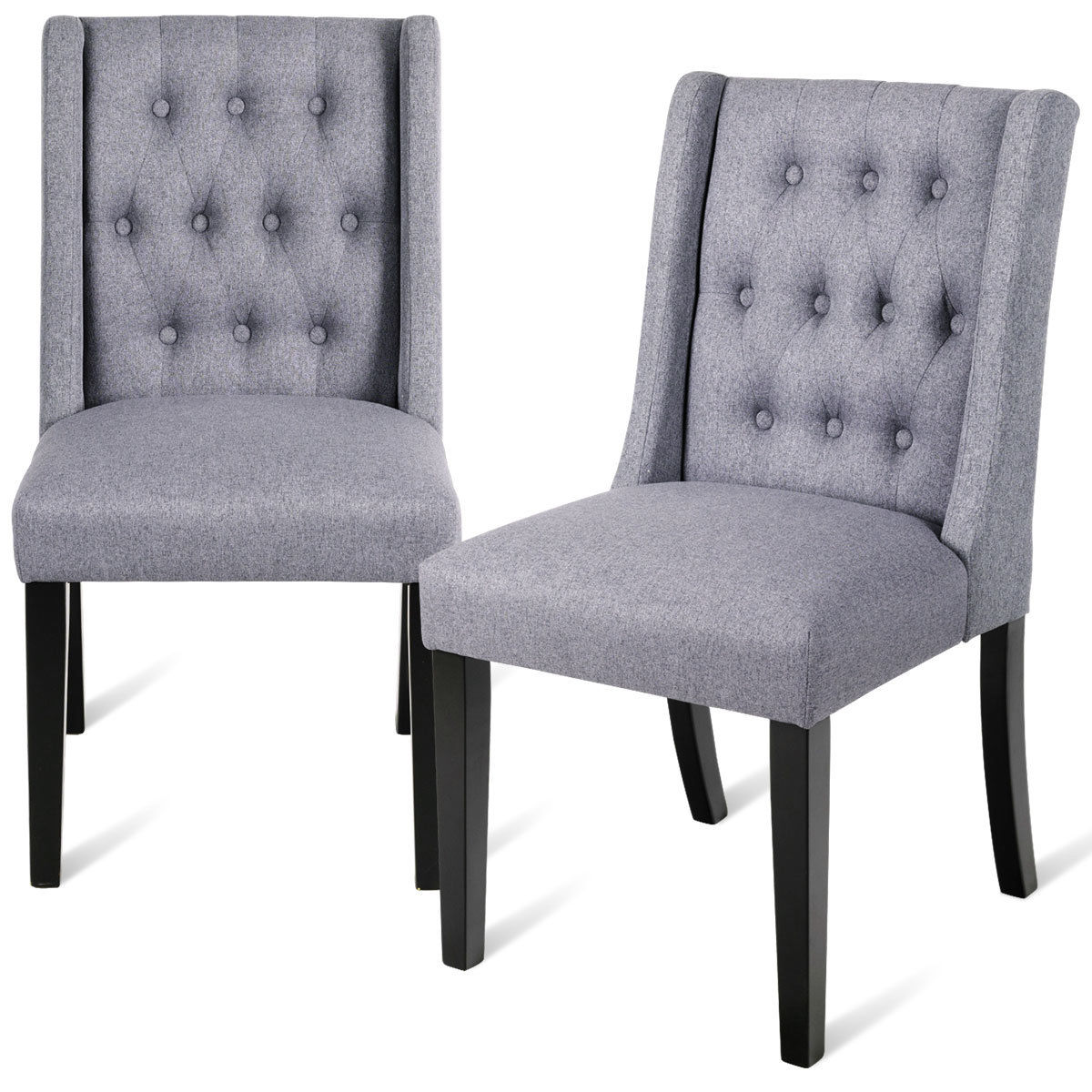 Costway Set of 2 Dining Side Chairs Wing Back Button Tufted Fabric with Wood Legs Gray