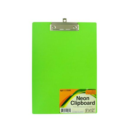 Bulk Buys GR143-16 Neon Clipboard with Steel Chrome Plated Clip (Mini Clipboards Bulk)