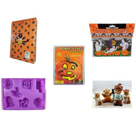 Halloween Fun Gift Bundle [5 Piece] -  Cat Pumpkin Push In 5 Piece Head Arms Legs - Ghostly Magic Paper Trimmer 3.75 in x 9 ft. - Darice Pumpkin Face Fun Felt Kit - Stitches - Happy  Jell-O Mold - H - Paper Mache Heads Halloween