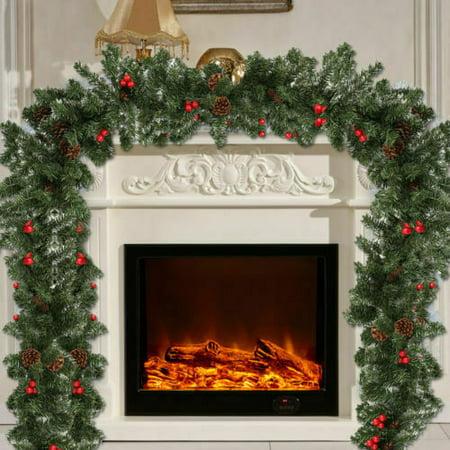 Christmas Garland 9FT Rattan Weath Tree Hanging Fireplace Home Decor ()