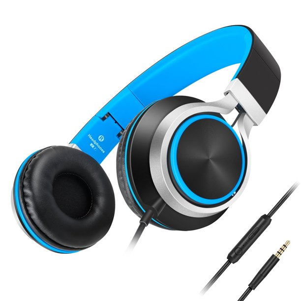 Headphones Ailihen C8 Lightweight Foldable Headphone With Microphone Mic And Volume Control For Iphone Ipad Ipod Android Smartphones Pc Laptop Mac Tablet Headphone Headset For Music Gaming Black Blue Walmart Com Walmart Com