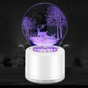 3D Portable USB Power Insect Trap Led Light Mosquito Killer Lamp Suction Type Pest Control Bug Zapper Uv Electric Household(A/Forest deer)
