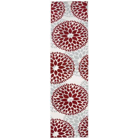 Modern Floral Design Red 2' X 7' 2