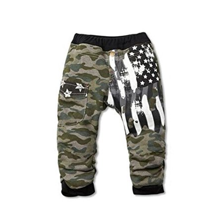 StylesILove Kids Boy Camouflage American Flag Thick Cotton Pants (3-4 Years, Black)