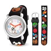 All Star Sports Baseball Soccer Football Waterproof Wrist Watch Time Teacher Quartz 3D Cartoon Black Silicone Wristband