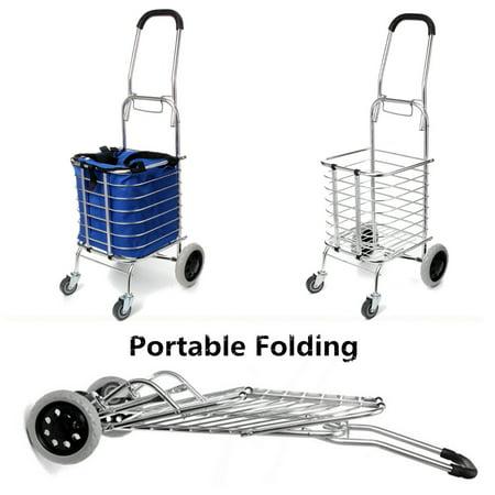 Folding Portable Shopping Basket trolley Cart Trolley Trailer Four Wheels Aluminum (Basket Trainer)