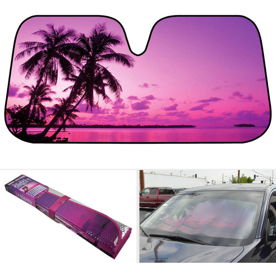 BDK Pink Sunset Sunshade, Sailor\'s Delight at Night, Folding Accordion with Anti-Glare Auto Shade