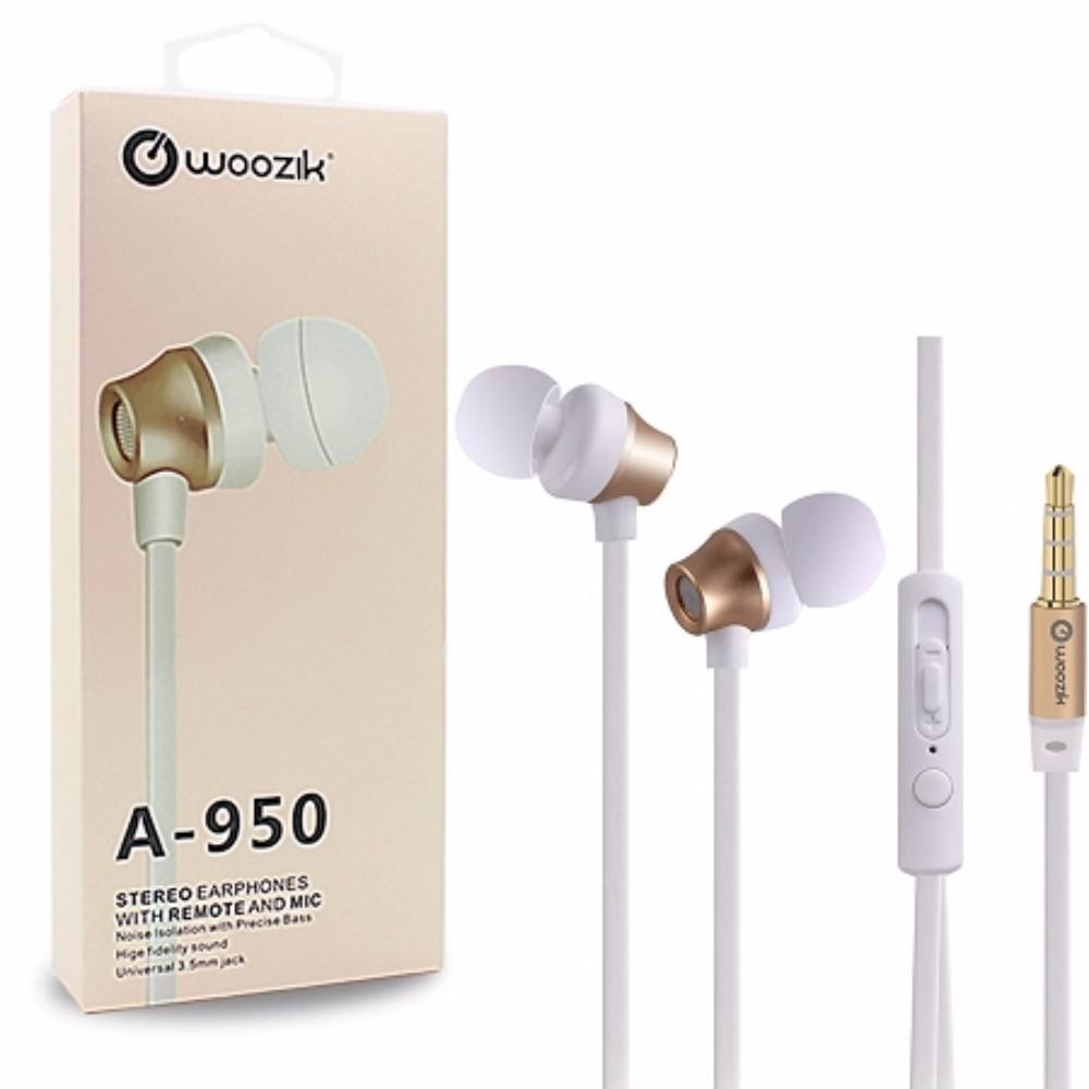 Woozik A950 Stereo In-Ear Earbuds with Noise Isolation, Microphone and Remote, Gold