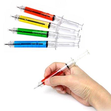 Novelty Needle Tube Tubing Shaped Ball Point Pen Syringe Ball Pen (Blue) - Syringe Pen