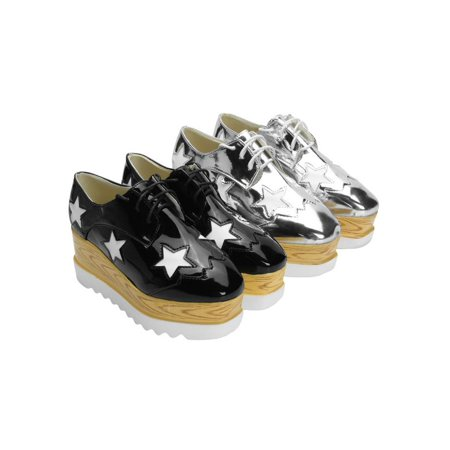 Women's Star Flat Wedge Heel Platform Square Toe Lace Up Casual Height Increasing