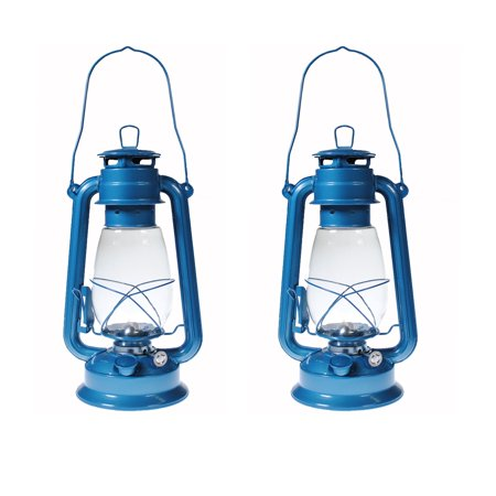 Lot of 2 - Hurricane Kerosene Oil Lantern Emergency Hanging Light Lamp - BLUE 12 Inches